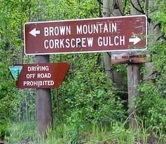 Sign to start of Corkscrew Gulch