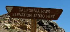 California Pass sign, elevation 12,930 feet
